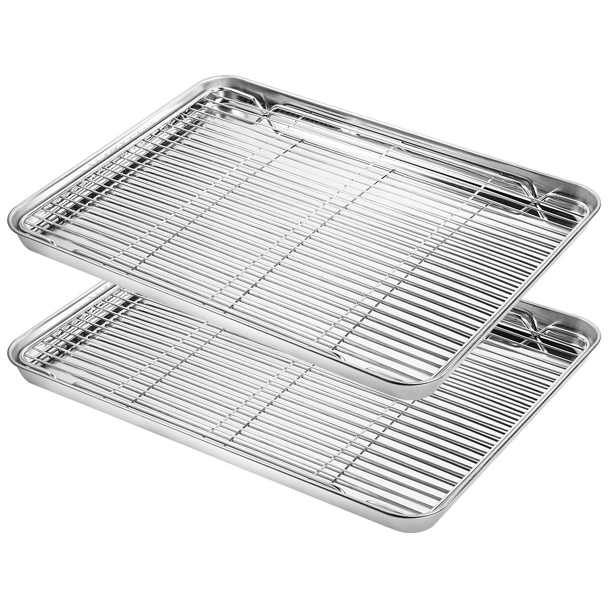 Baking Sheet with Rack Set, Yododo 2 Sets Stainless Steel Baking Pans Tray Cookie Sheet with Cooling Rack, Rectangle Size 16 x 12 x 1 inch, Non Toxic & Healthy- 4 Pack (2 Pans + 2 Racks) baking sheet rack set