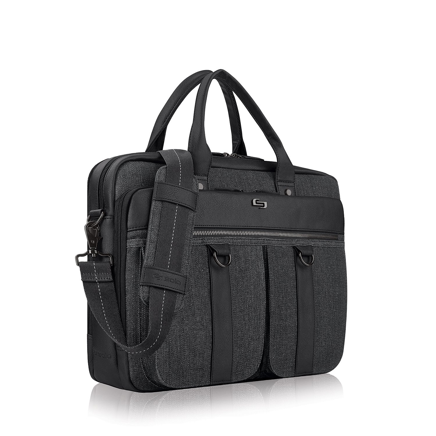 Solo Mercer 15.6 Inch Laptop Briefcase, Black/Grey by SOLO (Image #2)