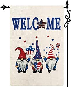 Coskaka Patriotic Gnomes Welcome Vertical Double Sided Garden Flag, Independence Day Memorial Day American Veteran Soldier Seasonal Yard Outdoor Decor 12.5 x 18