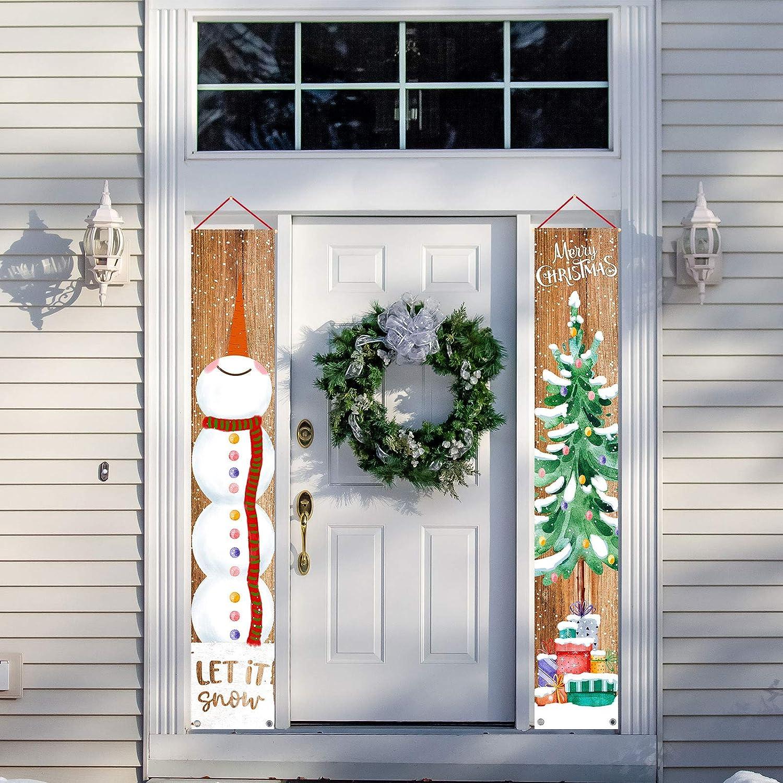 Whaline Panneau de porte de No/ël bonhomme de neige /à suspendre sur le sapin de No/ël 30,5 x 182,9 cm d/écoration de porte pour int/érieur ou ext/érieur