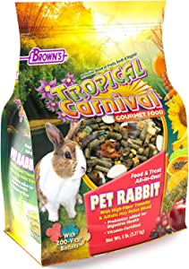F.M. Brown's Tropical Carnival Gourmet Pet Rabbit Food with High-Fiber Timothy and Alfalfa Hay Pellets, Probiotics for Digestive Health, Vitamin-Nutrient Fortified Daily Diet - 5 lb
