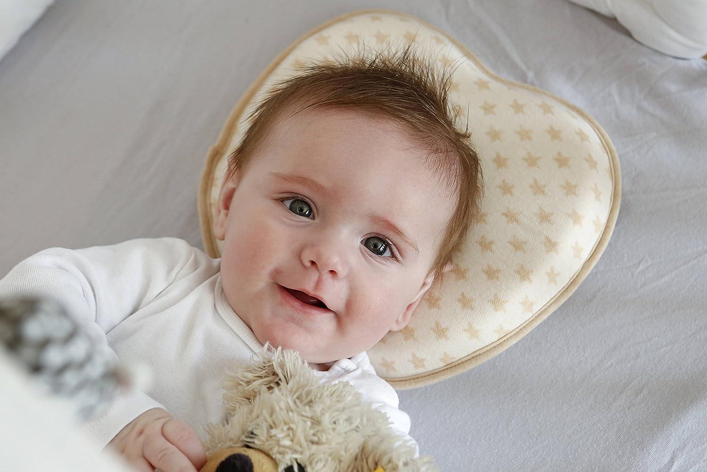 Bebé almohada Prevenir cabeza plana síndrome | incluye 2 fundas de algodón orgánico | reducir plagiocefalia + apoyo recién nacido Natural forma de la ...