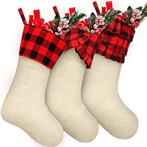 3 Pieces 18 Inch Christmas Fireplace Hanging Stockings Red and Black Buffalo Check with Burlap Christmas Stockings Large Xmas Natural Stocking Decorations with Buffalo Plaid Cuff, 3 Styles