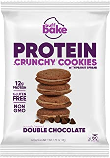 product image for Buff Bake Protein Sandwich Cookie | Double Chocolate | Crunchy | Gluten Free | Non-GMO Ingredients | 12g of Hormone-Free Whey Protein | (8Count, 1.79 oz)