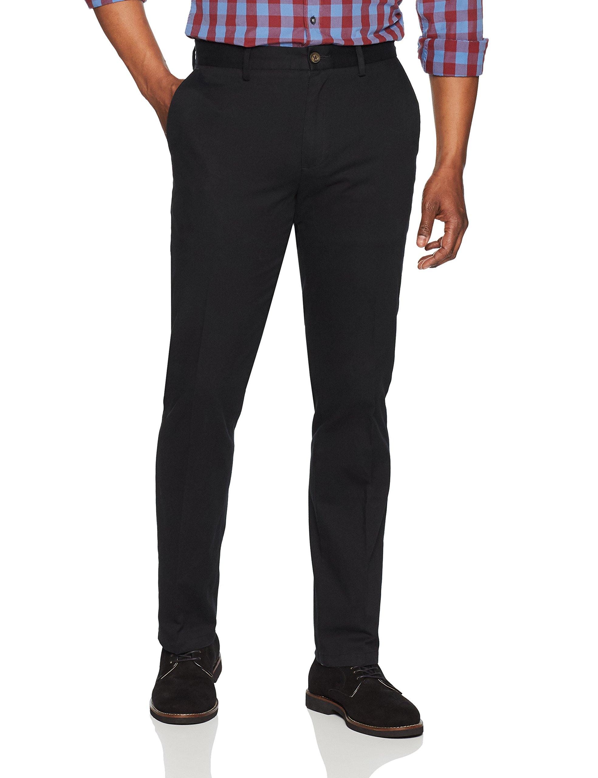 Amazon Essentials Men's Slim-Fit Wrinkle-Resistant Flat-Front Chino Pant, Black, 34W x 32L by Amazon Essentials