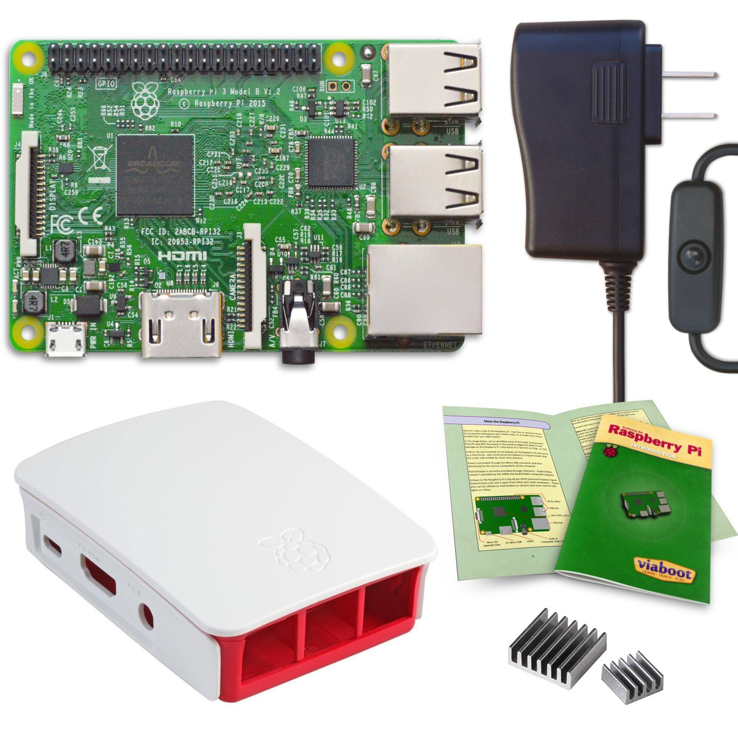 Viaboot Raspberry Pi 3 Power Kit — UL Listed 2.5A Power Supply, Official Red/White Case Edition