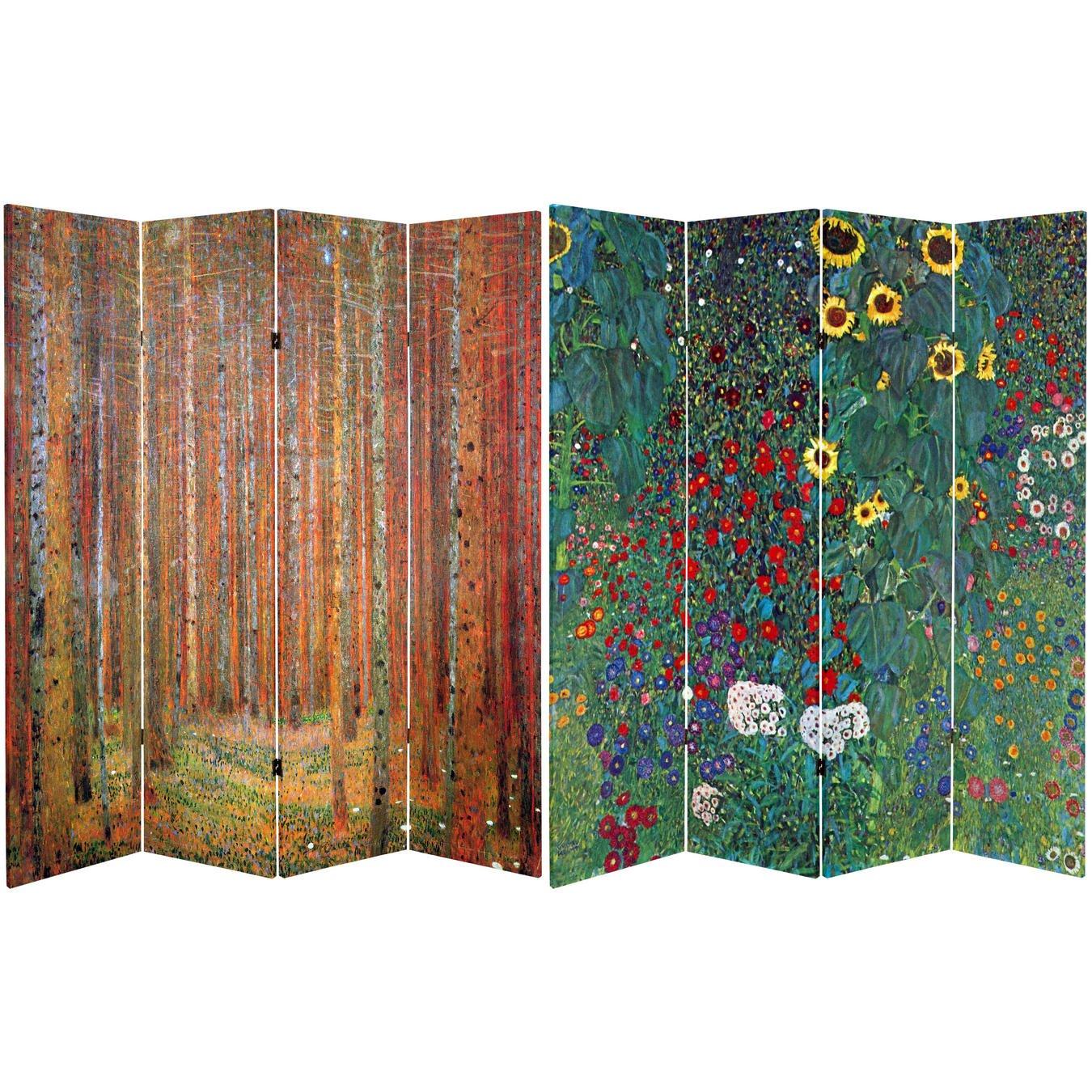 Oriental Furniture 6 ft. Tall Double Sided Works of Klimt Room Divider - Tannenwald/Farm Garden