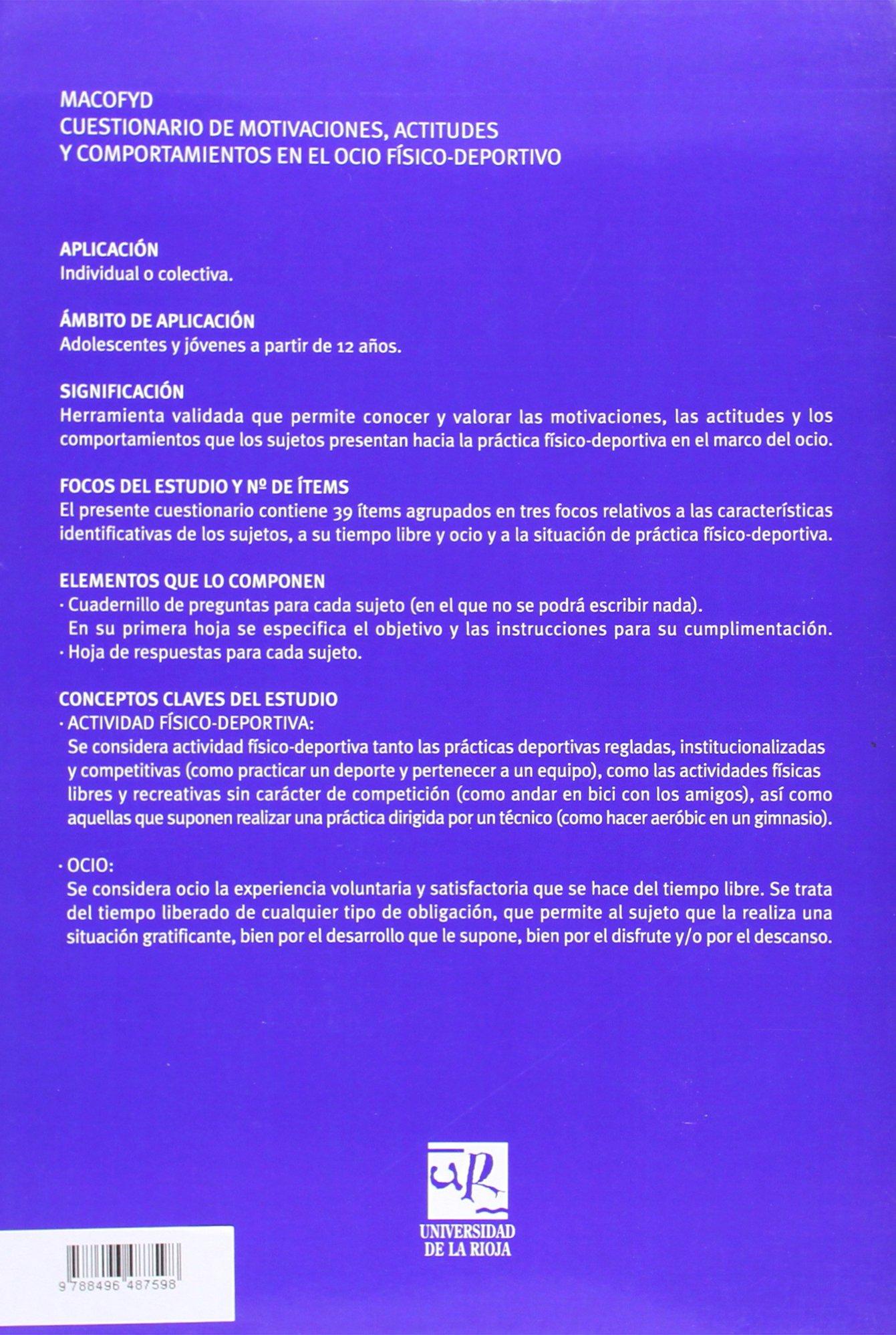 MACOFYD: Cuestionario de motivaciones, actitudes y comportamientos en el ocio físico-deportivo juvenil: Amazon.es: Ana Ponce de León Elizondo: Libros