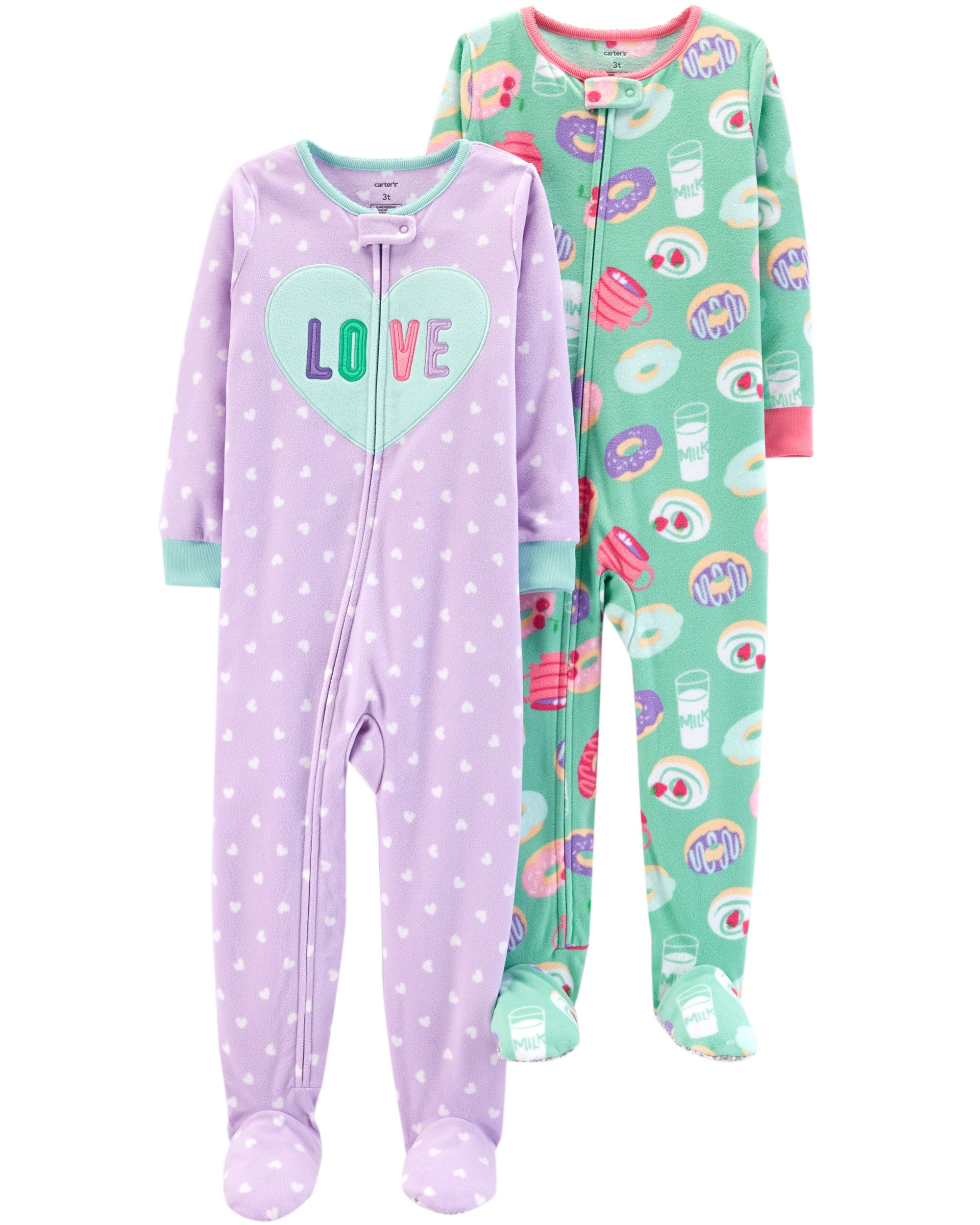 Carter's Baby Girls 2-Pack Fleece Pajamas, Love/Donuts, 24 Months
