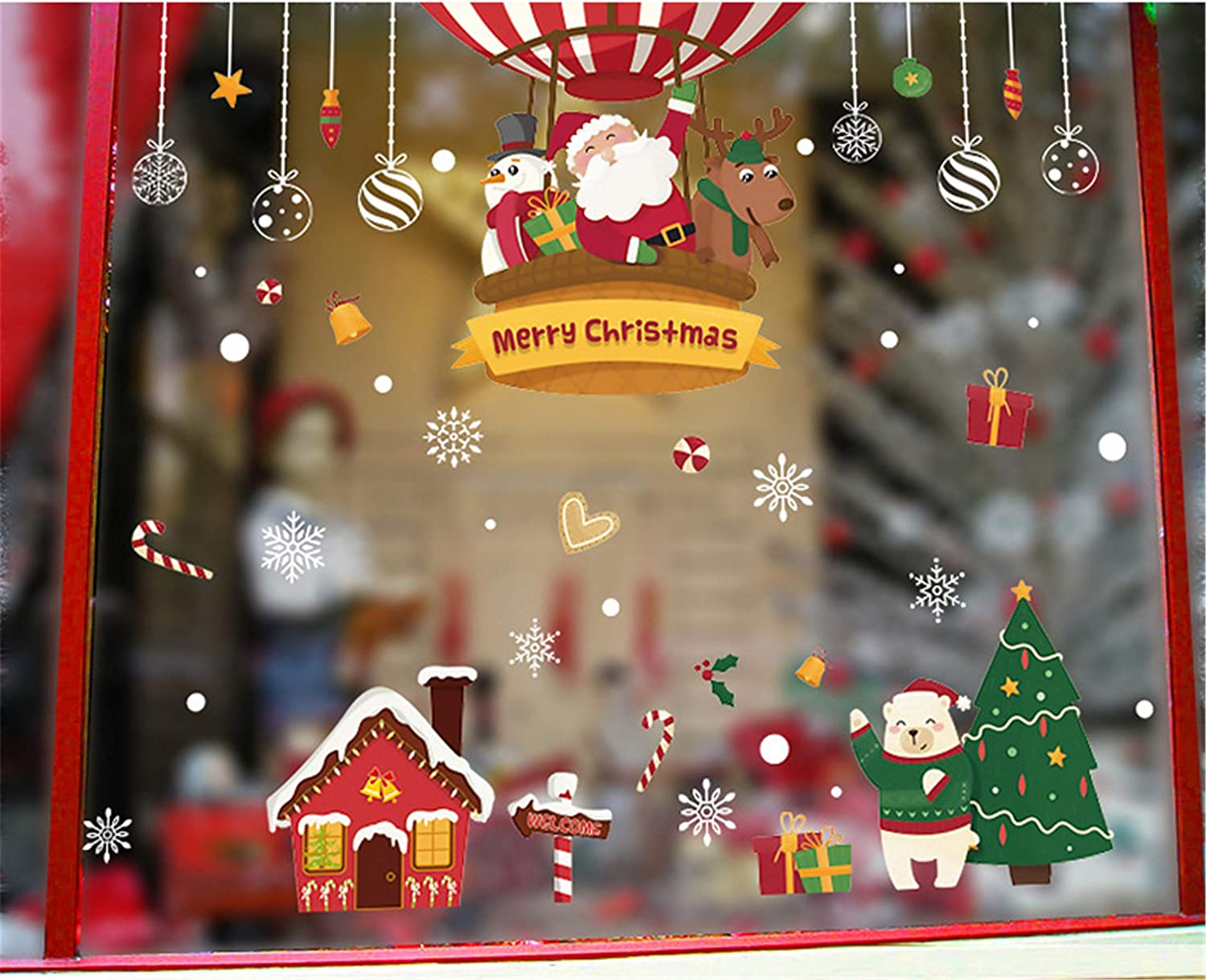Kriccio Christmas Decorations Window Clings Large Stickers for Glass, Xmas Decor Decals Holiday Snowflake Reindeer Snowman Christmas Tree Stocking, Party Supplies Gift Idea HM92035ds