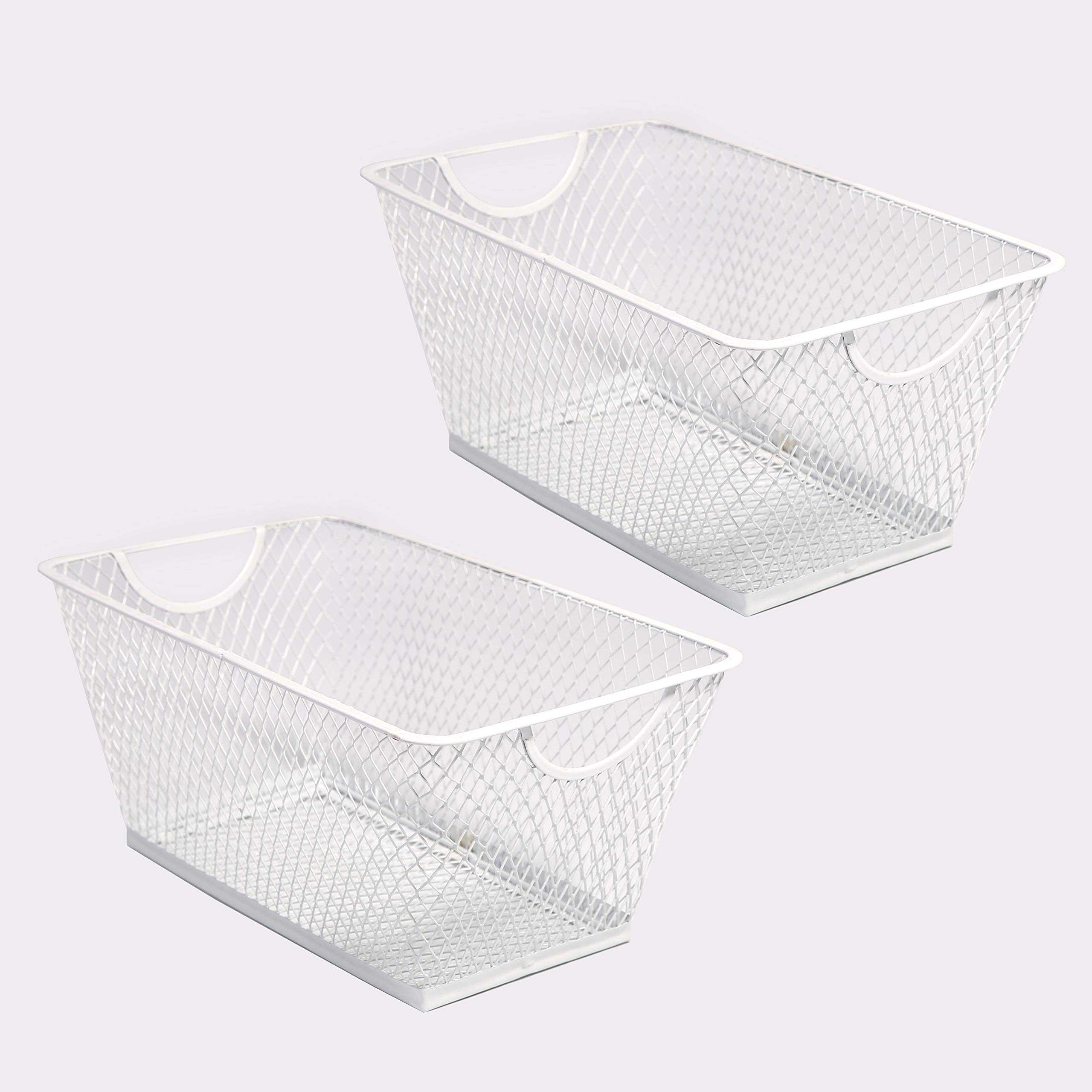SLPR Office Desktop Organizer Wire Basket (Set of 2, White) | Classroom Craft Room Kitchen Pantry Garage Desk Stackable Metal Tapered Storage Bin by SLPR (Image #1)