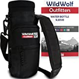Wild Wolf Outfitters - #1 Best Water Bottle Holder for 25 oz Bottles - Carry, Protect and Insulate Your Flask with This Military Grade Carrier w/ 2 Pockets and an Adjustable Padded Shoulder Strap.