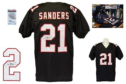 bdb3053de Deion Sanders Signed Custom Jersey - JSA Witnessed - Autographed w/ Photo -  Black