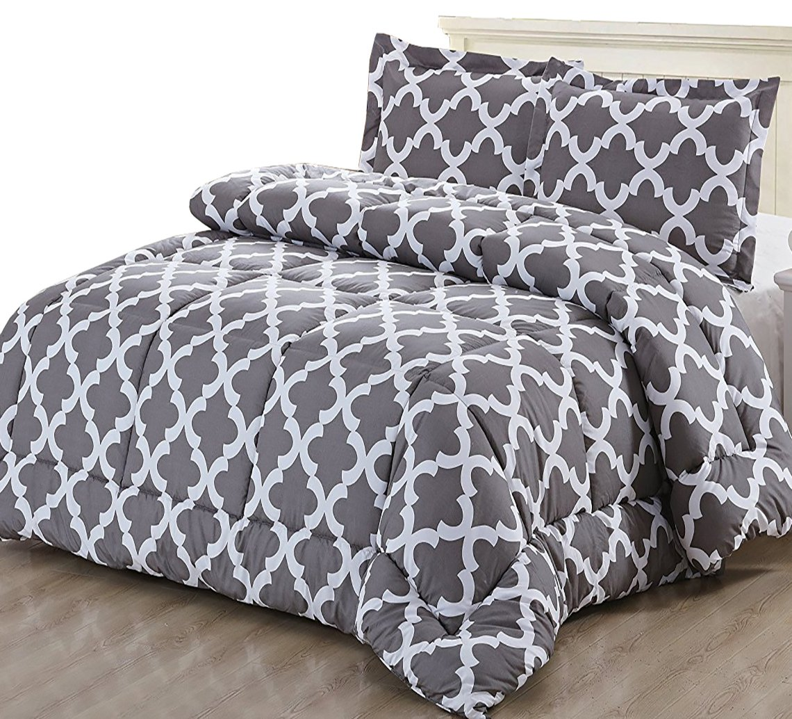 Printed Comforter Set King, Grey