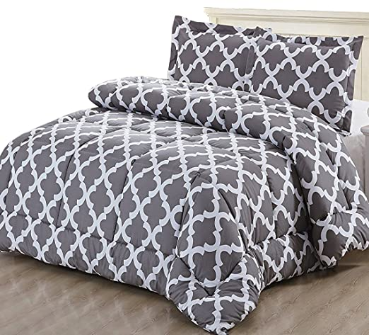 Printed Comforter Set (Grey, Queen) with 2 Pillow Shams - Luxurious Soft Brushed Microfiber - Goose Down Alternative Comforter