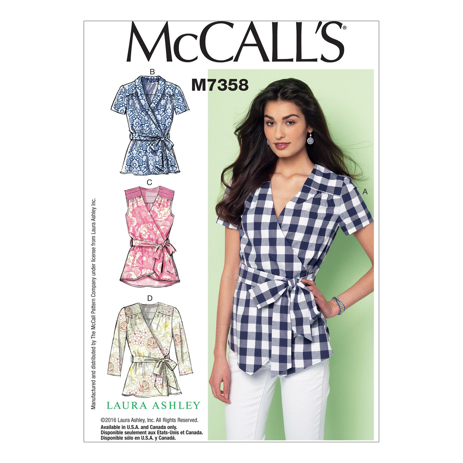 McCalls Patterns M7358 Misses Gathered and Yoked Tops and Belt Size A5 6-8-10-12-14