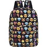 Backpack for girls boy cute school Backpack school bag emoji Backpack outdoor Daypack (Black)