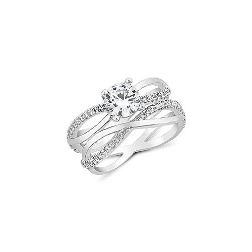 Amazon.com: Dos en Uno 2 in1 cruzado mujeres anillo – bañado ...