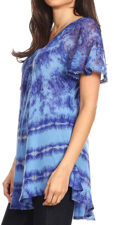 Sakkas Allegra Womens Short Sleeve Loose Fit Casual Tie Dye Blouse Tunic Shirt