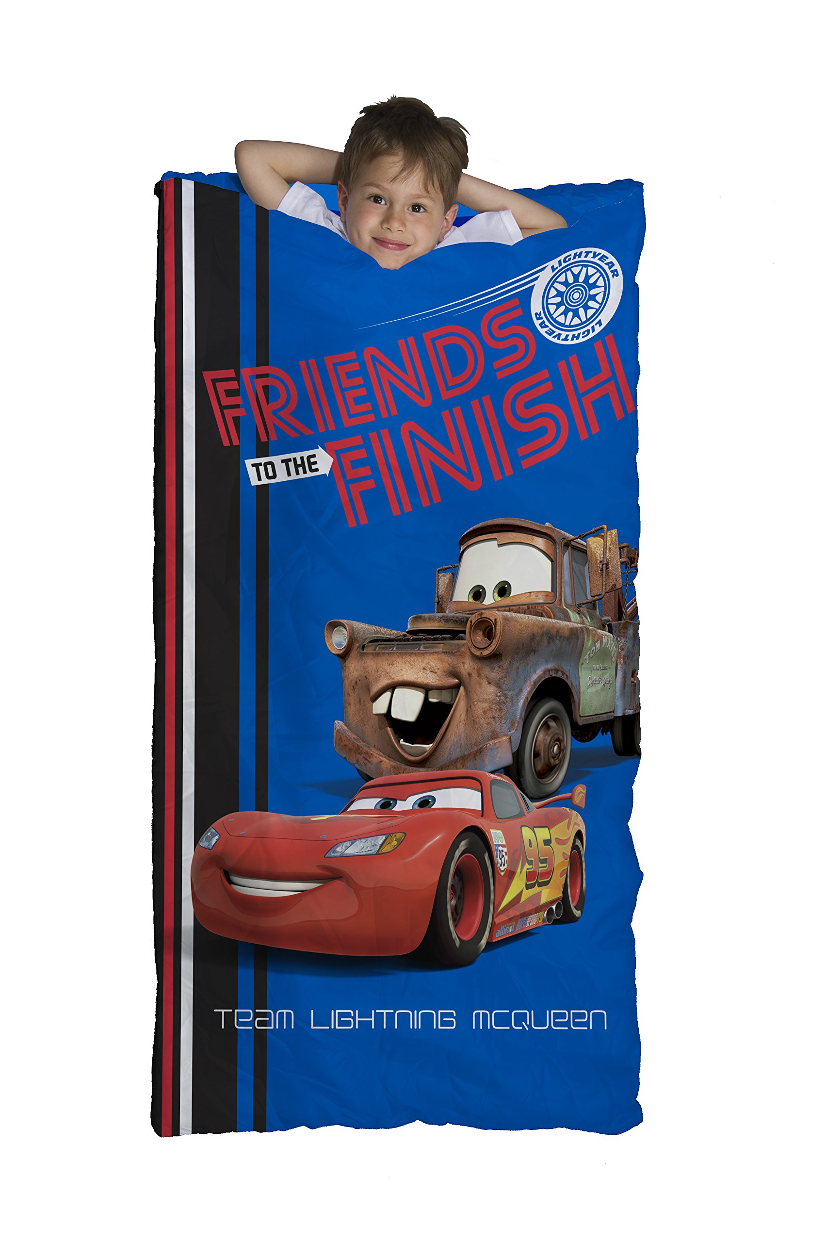 Disney/Pixar Cars Friends to the Finish Blue 30'' x 54'' Slumber Bag with Lightning McQueen & Mater (Official Disney/Pixar Product)