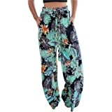 BROVAVE Women's Casual Floral Print Yoga Palazzo Pants with Pocket
