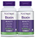 Natrol Biotin Maximum Strength Tablets, 10,000mcg, 100 Count (pack of 2) (Pack May Vary)