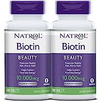 Natrol Biotin Maximum Strength Tablets, 10,000mcg , 100 Count (pack of 2) ( Pack May Vary )