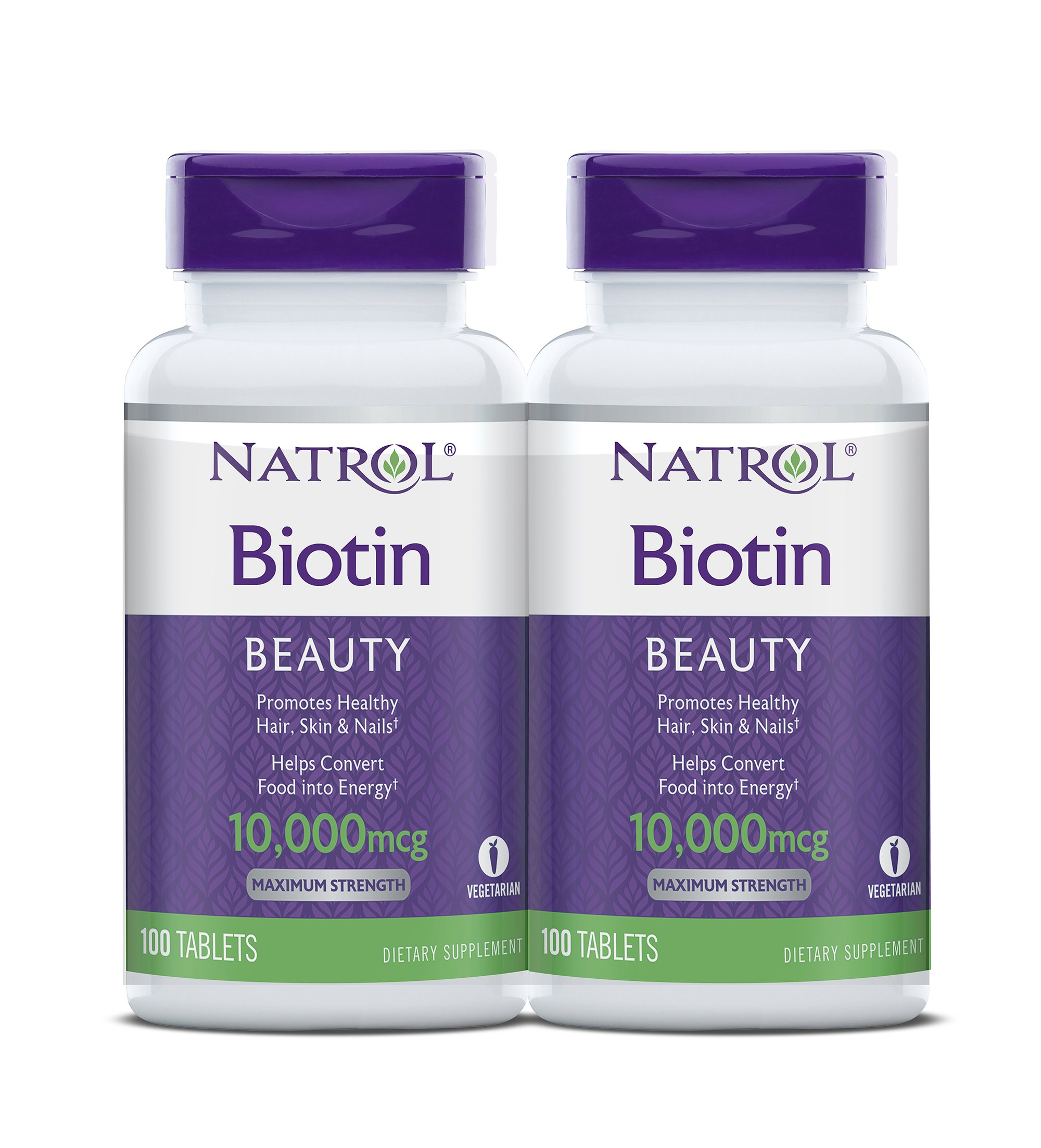 Natrol Biotin Beauty Tablets, Promotes Healthy Hair, Skin and Nails, Helps Support Energy Metabolism, Helps Convert Food Into Energy, Maximum Strength, 10,000mcg, 100 Count (Pack of 2) by Natrol
