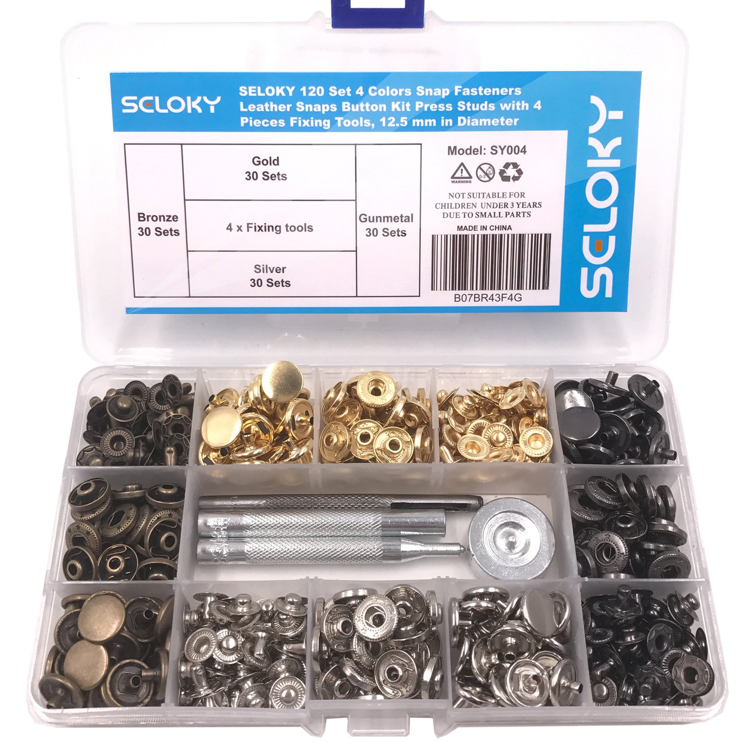 Seloky 120 Set 4 Colors Snap Fasteners Leather Snaps Button Kit Press Studs with 4 Pieces Fixing Tools, 12.5 mm in Diameter 4337005979
