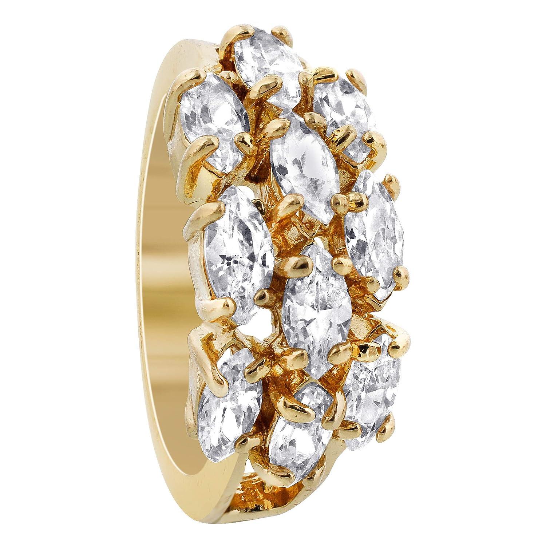 Gem Avenue Polished Finish 18k Gold Layered Marquise Shape 9 x 19mm Front CZ Design Ring