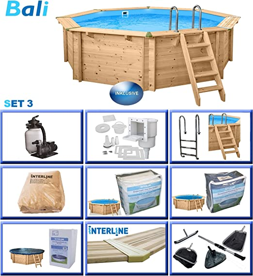 Interline 50700213 Bali a y 96188 Pool Set 3 Madera pared Piscina ...