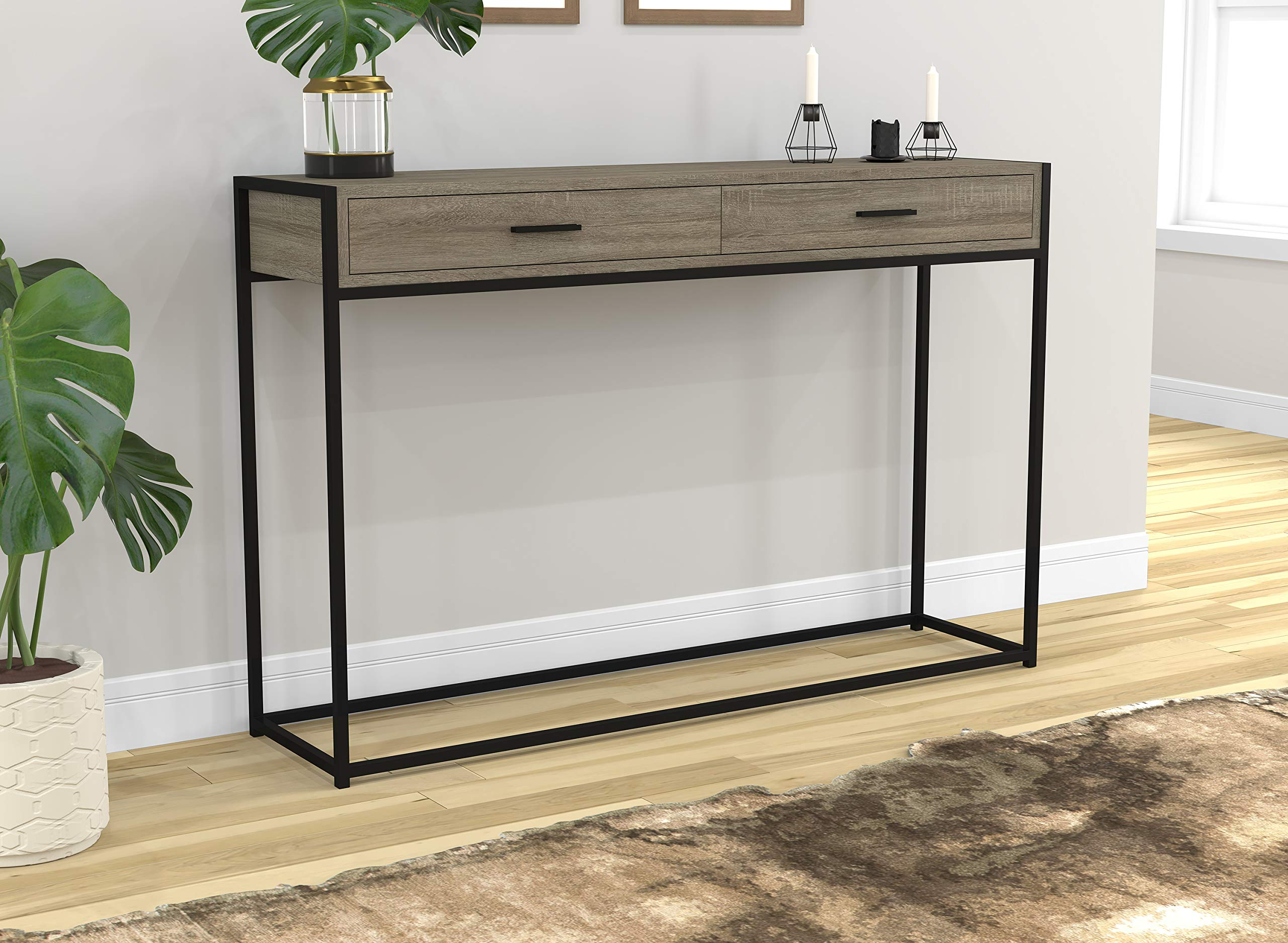 Safdie & Co. 81046.Z.05 Entryway Console Sofa Couch Table/Accent Wall Table-48 Long/Dark Taupe with Drawers for Living Room by Safdie & Co.