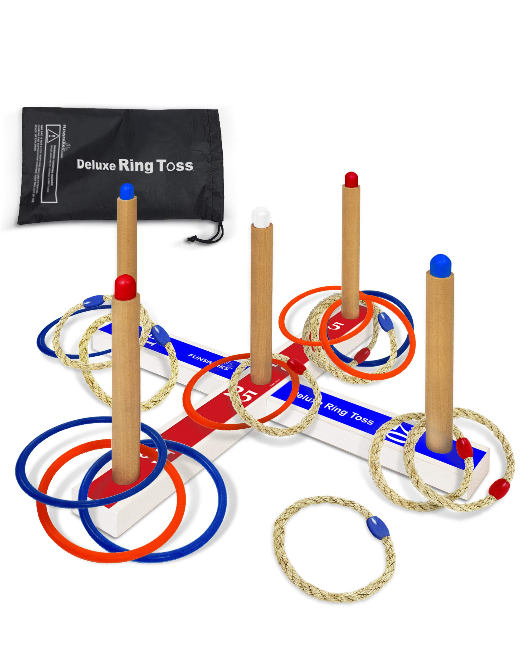 Deluxe Ring Toss Game Set - Outdoor Kids & Adults Toy Keeps Them Active and Includes a Compact Carry Bag, 8 Rope & 8 Plastic Rings - Easy to Assemble - Fun Family or Friends Game by Funsparks