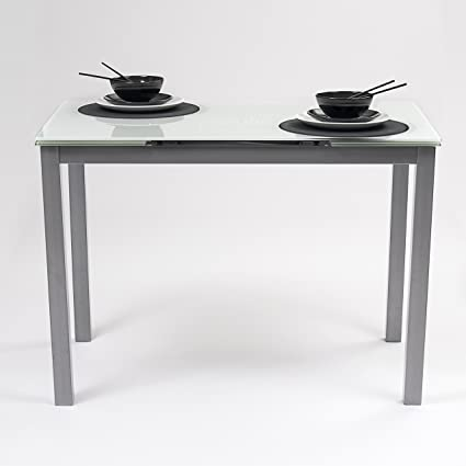 Homely Mesa de Cocina Extensible Paris Estructura en Metal Gris y Tapa de Cristal Templado Blanco (110x70cm/30+30 cm)