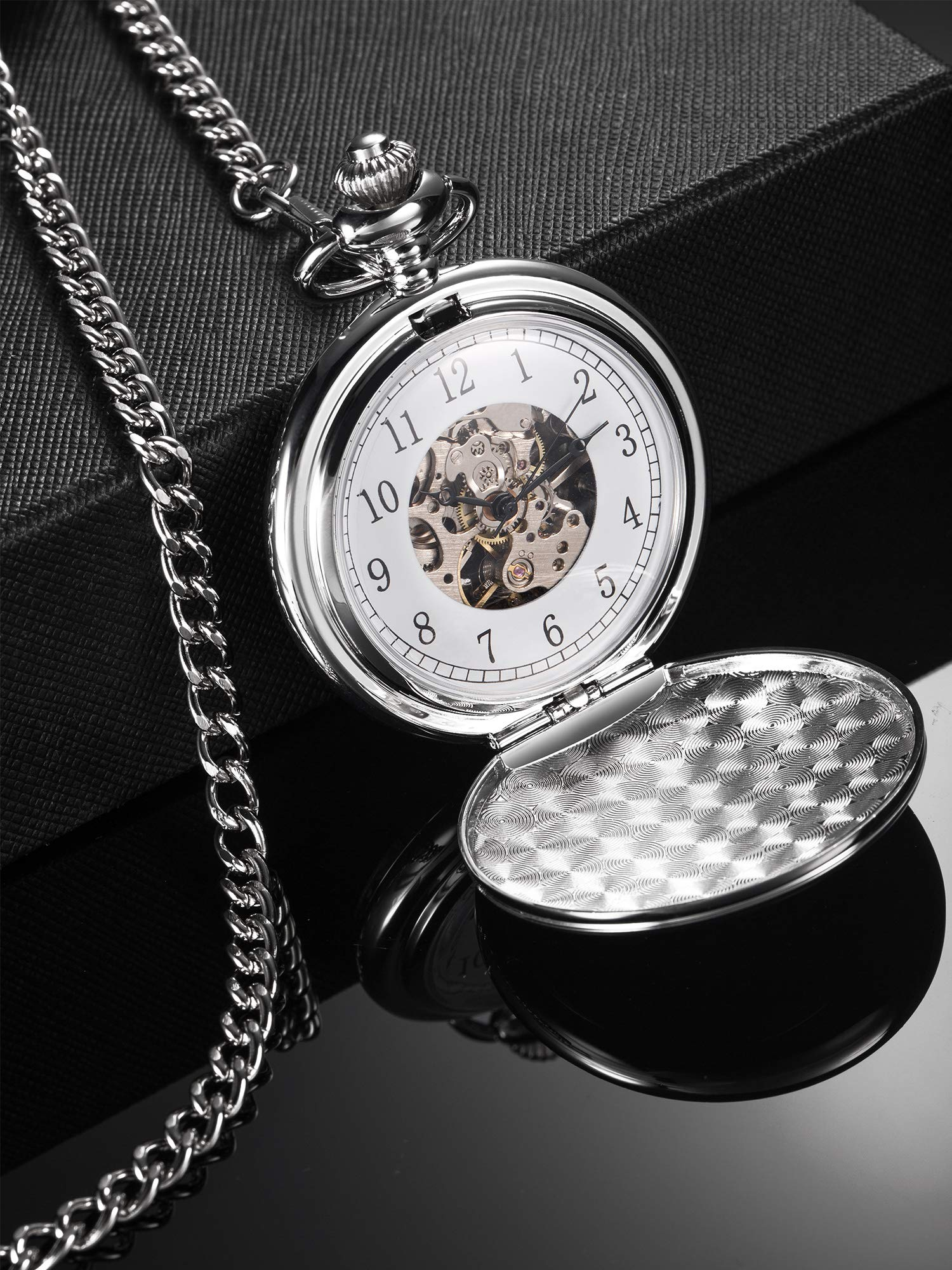 Hicarer Vintage Analog Mechanical Pocket Watch with Chain (Silver) by Hicarer (Image #2)
