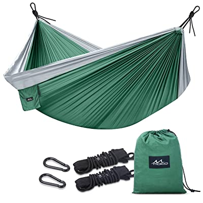 "MoKo Camping Hammock, Outdoor Double Parachute Nylon 2 Person Portable Lightweight Hammock Swing 118"" x 78"" with Straps Hold Up to 440Lbs for Travel, Backpacking, Beach, Yard, Hiking: Sports & Outdoors"