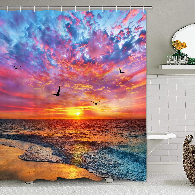 Alishomtll Beach Shower Curtain Seagull Seaside Shower Curtain with 12 Hooks, Sunset Ocean Waves Shower Curtain Blue Sky Coastal Sun Rays Shower Curtain for Bathroom