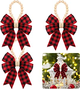 EBOOT 3 Pieces Christmas Prayer Beads Wood Bead Garland Rustic Country Decor Prayer Beads Xmas Wood Prayer Beads with Plaid Bow for Holiday, Christmas Tree Decoration (Red and Black)