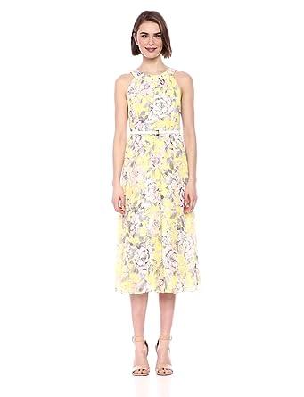 ebc39aa040d Tommy Hilfiger Women's Coin TOSS Chiffon Long Dress, Sunshine Multi, ...