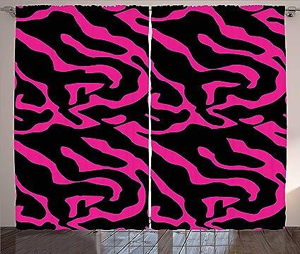 Amazon.com: Pink Zebra Curtains by Ambesonne, Fashion Zebra Stripes ...