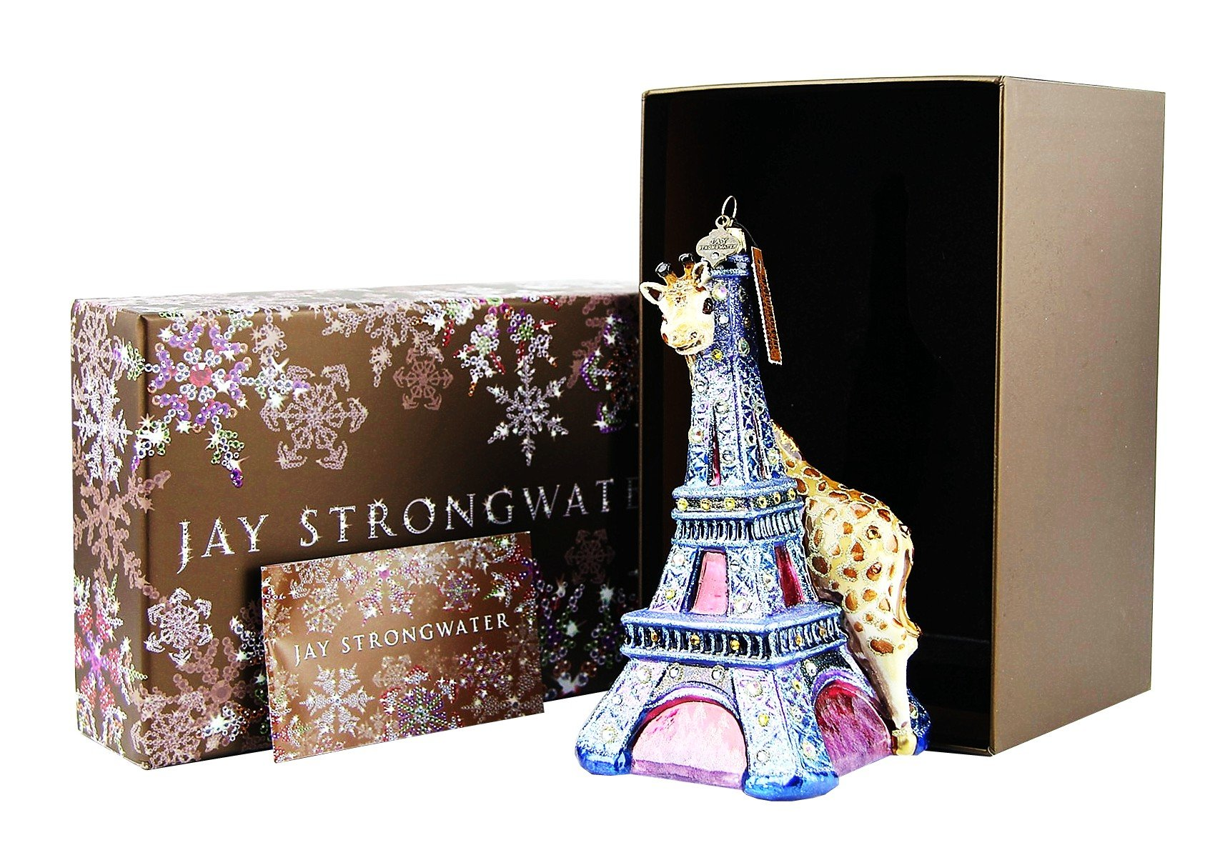 Jay Strongwater Eiffel Tower & Giraffe Christmas Ornament Brand New in Gift Box & Tags