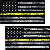 "Thin Yellow Line Flag Grunge Sticker 2 Pack ""GRUNGE"" LAMINATED tattered Security Officer USA Vinyl Decal Lives Matter Memorial Car Truck Bumper Winshield Design"