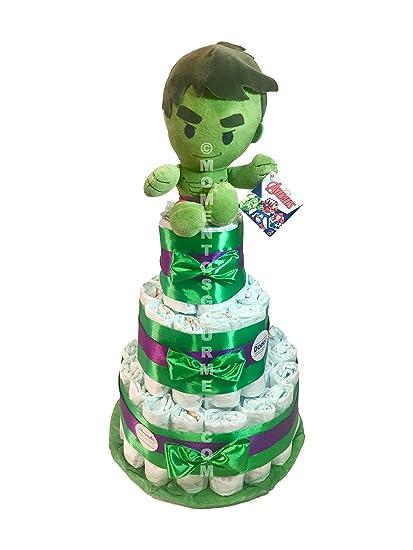 Tarta de pañales DODOT The Avengers Increible Hulk (Talla 2 (3-6 kg