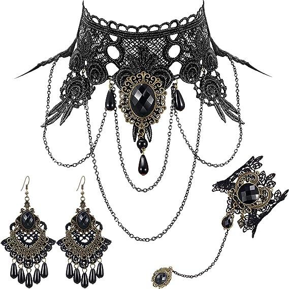 Fashion gothique dentelle noire rétro tour de cou collier de fleurs collier pendentif bijoux