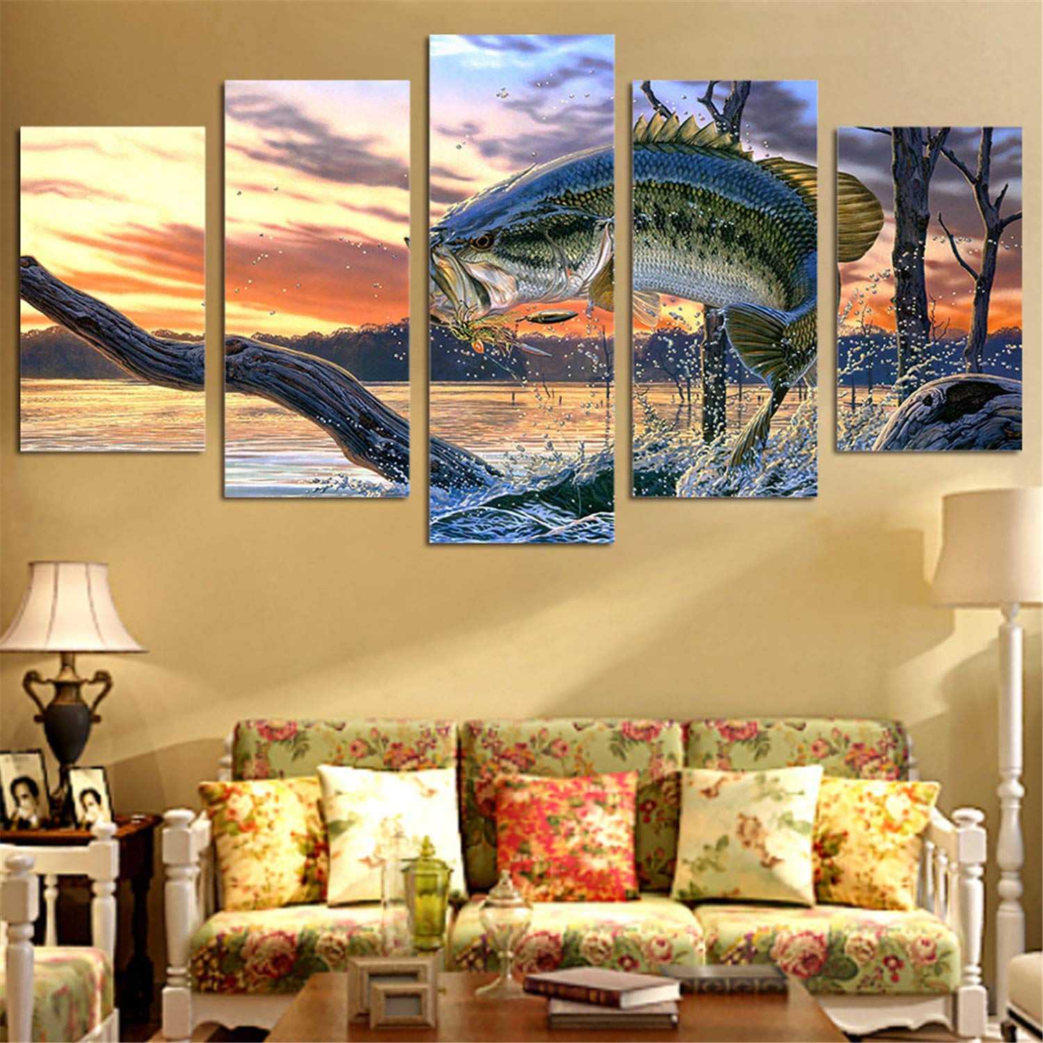 JESC Canvas Painting Home Decor Wall Art Framework 5 Pieces Jurassic Park Dinosaurs Pictures Living Room HD Prints Animal