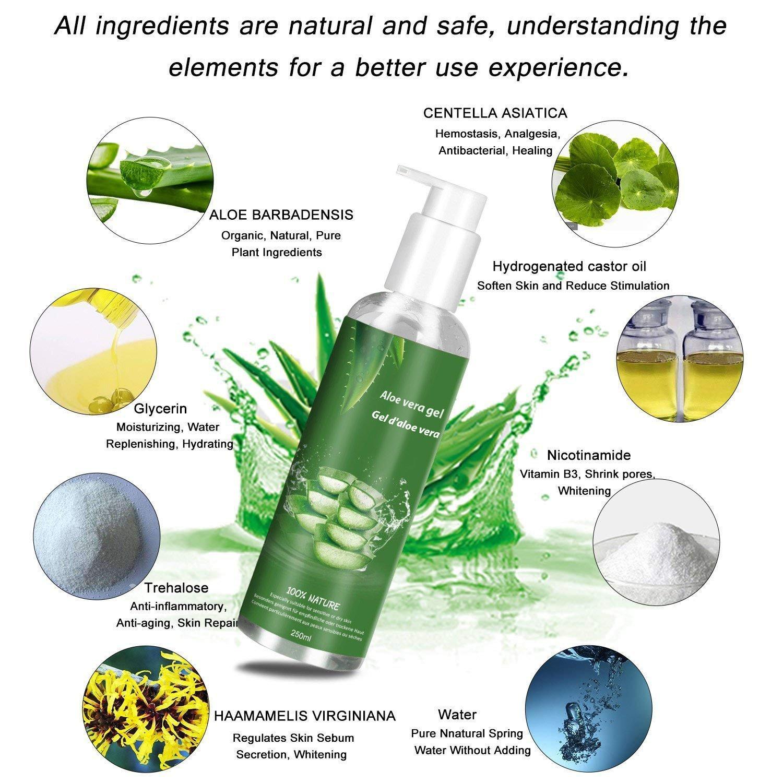 Betope Aloe Vera Gel 100 Prozent Reines Bio Pur für Nach Sonnenbrand Feuchtigkeitsspendend Kontrollierter Anbau Natürlich Organisch Multifunktional Emollient - 250ML