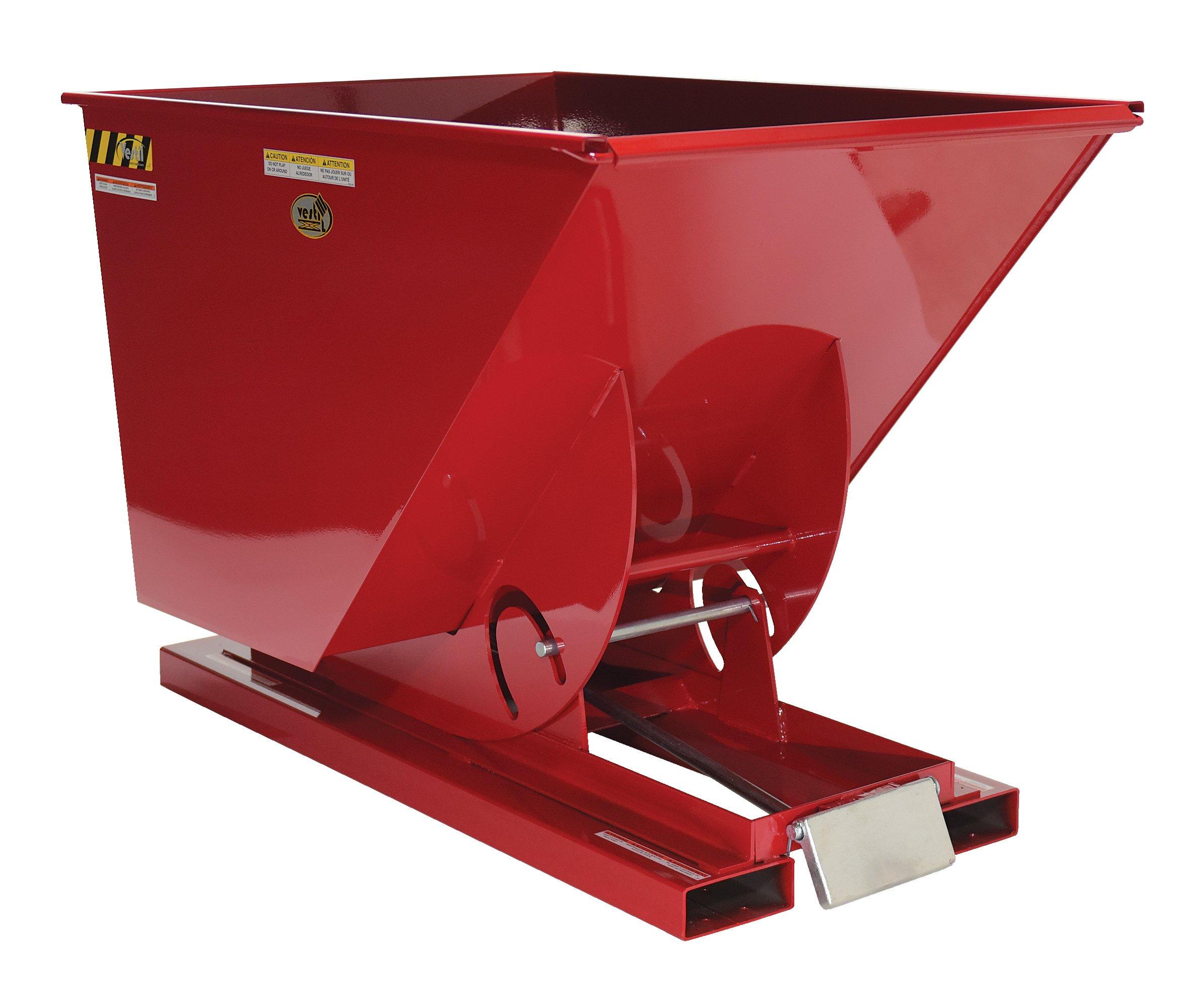 Vestil D-25-LD-SR Self-Dump LD Hopper .25 Cubic Yard, 2000 lb. Capacity, Overall L x W x H (in.) 51-7/8'' x 26'' x 38'', Red