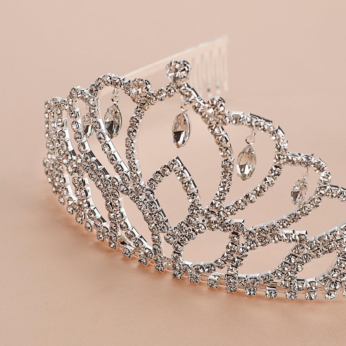 Elegant Tiara Crystal Hair Crown - Rhinestones Headband for Queen, Bridal, Princess in Wedding, Party and Birthday 1-2 - by NIPOO by Nipoo (Image #3)
