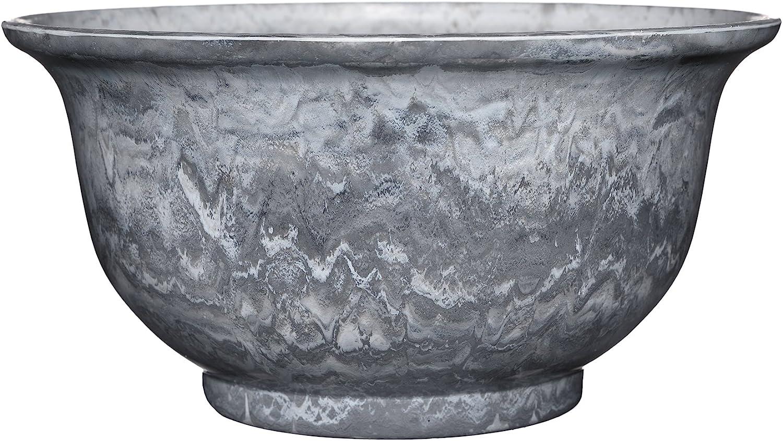 """Venetian Deep Bowl 12.5"""" Planter, Gray Granite"""