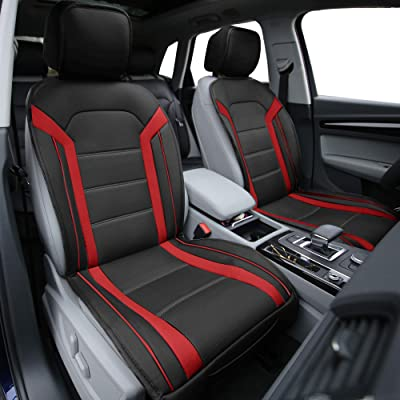 FH Group PU208REDBLACK102 Red/Black Leatherette Car Seat Cushions Airbag Compatible: Automotive